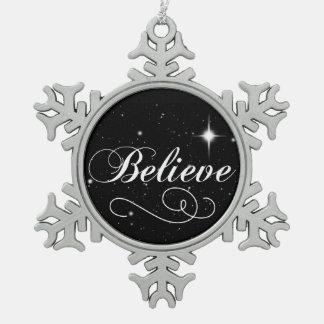 Believe in the Season Snowflake Pewter Christmas Ornament