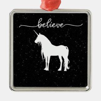 Believe in Unicorns Design Starry Sky Background Christmas Ornament