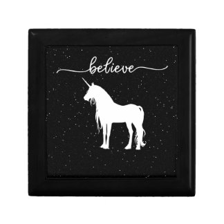Believe in Unicorns Design Starry Sky Background Gift Box