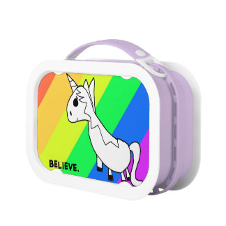 Believe in Unicorns Rainbow Lunch Box