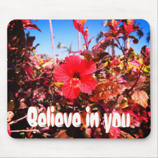 Believe in You and Red Hibiscus Mouse Mat