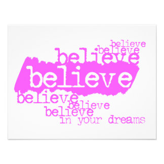 Believe in your dreams pink invites