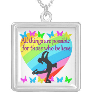 BELIEVE IN YOUR FIGURE SKATING DREAMS SQUARE PENDANT NECKLACE