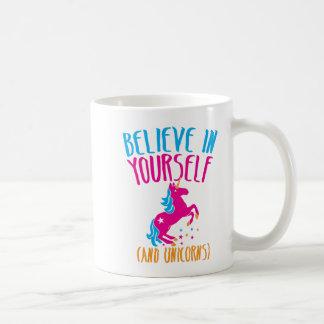 Believe in yourself (and unicorns) basic white mug