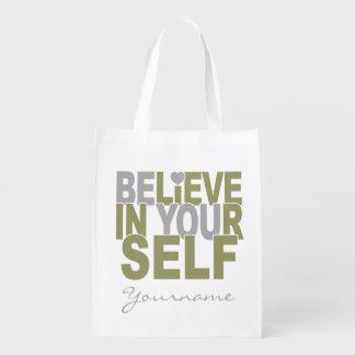BELIEVE IN YOURSELF custom reusable bag