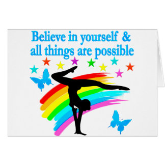 BELIEVE IN YOURSELF GYMNASTICS QUOTE NOTE CARD