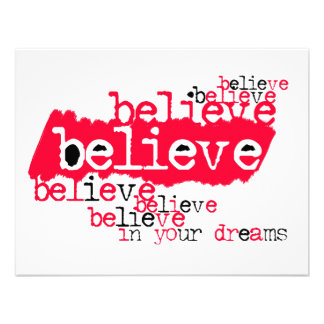 Believe in yr dreams red black personalized invitations