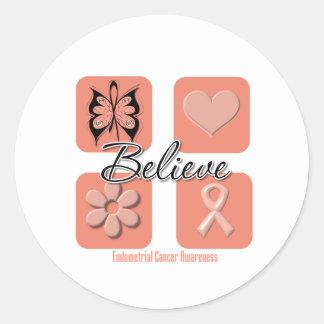 Believe Inspirations Endometrial Cancer Round Sticker