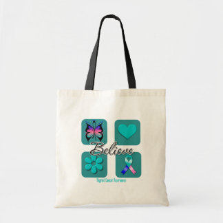 Believe Inspirations Thyroid Cancer Budget Tote Bag