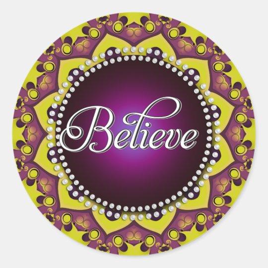 Believe : Inspire : Purple Yellow Mandala Circle