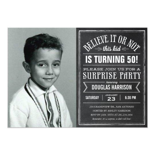Believe it Old Photo Birthday Surprise Invitations