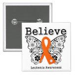 Believe - Leukaemia Butterfly Buttons