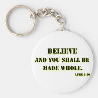 Believe, Luke 8:50 Basic Round Button Key Ring
