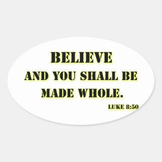 Believe, Luke 8:50 Oval Sticker