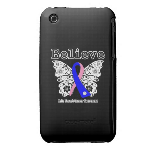 Believe - Male Breast Cancer Butterfly Case-Mate iPhone 3 Case