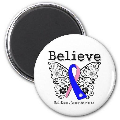 Believe - Male Breast Cancer Butterfly Fridge Magnet