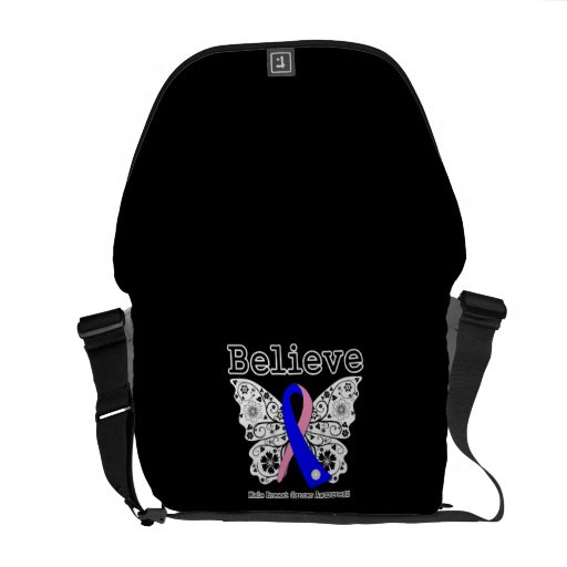 Believe - Male Breast Cancer Butterfly Messenger Bags