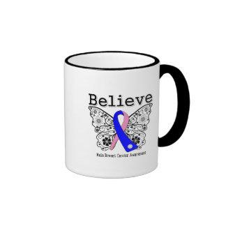 Believe - Male Breast Cancer Butterfly Mugs