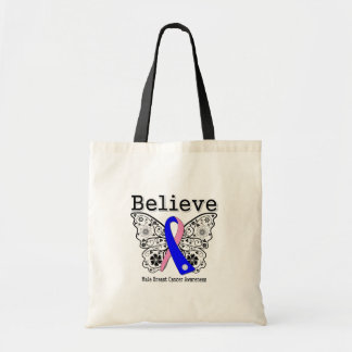 Believe - Male Breast Cancer Butterfly Canvas Bags