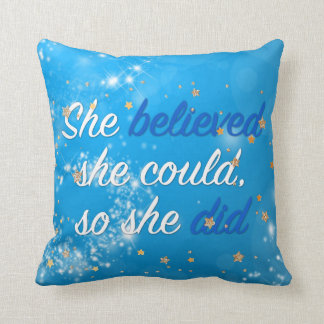 Believe Motivational Quote | Typography Script Throw Pillow