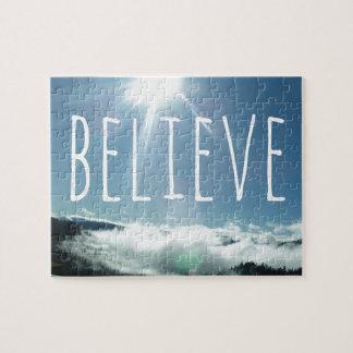 Believe Motivational Saying Jigsaw Puzzle