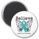 Believe - Ovarian Cancer Butterfly Refrigerator Magnet
