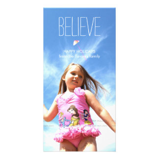 Believe Photo Christmas Holiday Greetings Picture Card