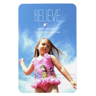 Believe Photo Christmas Holiday Greetings Vinyl Magnets