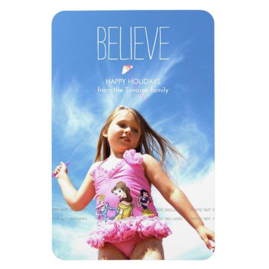 Believe Photo Christmas Holiday Greetings Rectangular Photo Magnet
