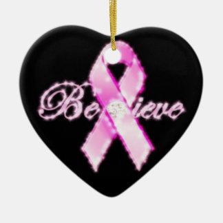 Believe Pink Ribbon Awareness Ornament