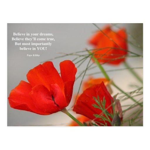 Believe Poem Red Poppy Post Card