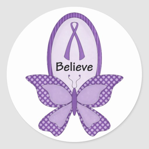 Believe purple awareness ribbon classic round sticker for Stickers juveniles