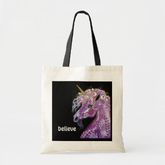 Believe purple unicorn tote