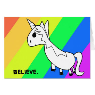 Believe! Rainbow Unicorn Notecard