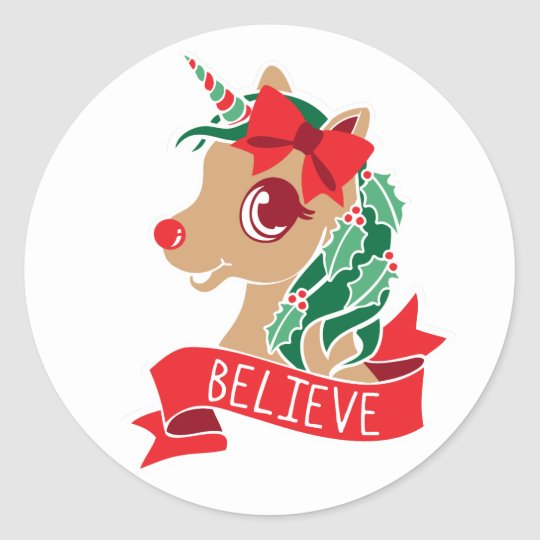 Believe - Red Nosed Unicorn Classic Round Sticker