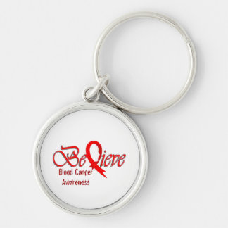 """Believe"" Red Ribbon Collection Silver-Colored Round Key Ring"