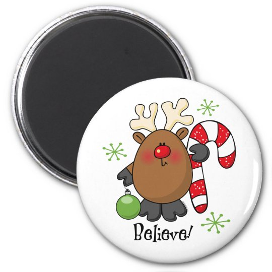 Believe Reindeer 6 Cm Round Magnet