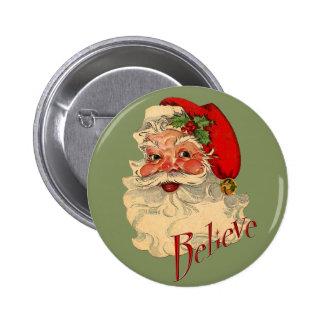 Believe Santa 6 Cm Round Badge