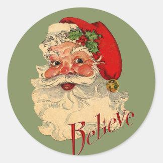 Believe Santa Classic Round Sticker