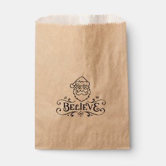 BELIEVE SANTA FACE Swirl Christmas Holiday Favor Favour Bags