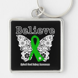 Believe Spinal Cord Injury Silver-Colored Square Key Ring