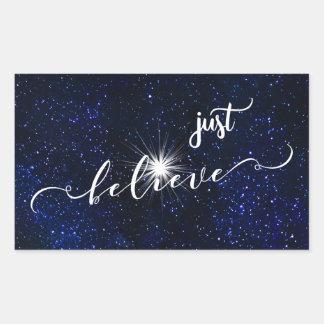 Believe Starry Night Sky Calligraphy Rectangular Sticker