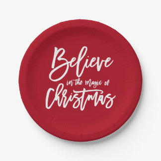 Believe | The Magic of Christmas Holiday Greeting Paper Plate
