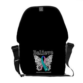 Believe - Thyroid Cancer Butterfly Messenger Bags