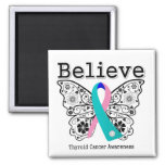 Believe - Thyroid Cancer Butterfly Square Magnet