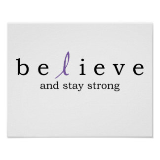 Believe Thyroid purple ribbon Cancer Poster