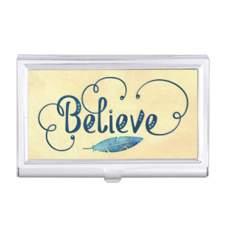 Believe Typography Watercolor Feather Blues Yellow Business Card Holder