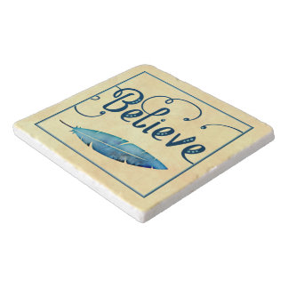Believe Typography Watercolor Feather Blues Yellow Trivet