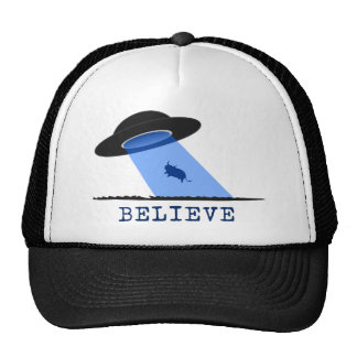 Believe (UFO beaming up cow) Cap