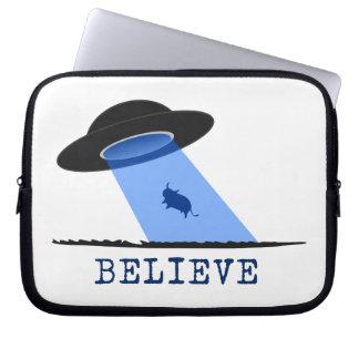 Believe (UFO beaming up cow) Laptop Sleeve